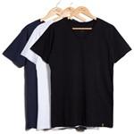 Kit de 3 Camisetas V - Azul Marinho, Branca e Preta