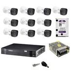 Kit de Monitoramento Intelbras Mhdx 16 Canais C/ 10 Câmeras 1010 Bullet , HD 1 Tera Wd Purple, Fonte, Conectores, Caixa P/conectores e Cabo