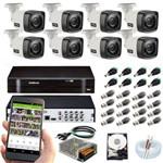 Kit de Monitoramento Intelbras Mhdx 8 Canais C/ 8 Câmeras 1120 Bullet , HD 1 Tera Wd Purple, Fontes, Conectores e Cabo