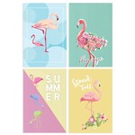 Kit de Placas Decorativas Flamingos 4un 30x40cm