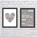 Kit de Quadros Mais Amor Rosa Moldura Preta Lisa - 30X20cm-sv