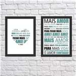 Kit de Quadros Mais Amor Tiffany com Branco Moldura Preta Lisa - 30X20cm-sv