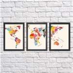 Kit de Quadros Mapa Colorido Moldura Preta Lisa - 30X20cm-sv