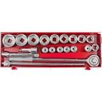 Kit de Soquetes 20 Peças 19 a 50mm com Catraca e Extensor em Estojo Metal - MTX