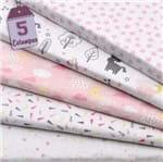 Kit de Tecido Mundo dos Sonhos Rosa (30x70) 5 Estampas