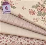 Kit de Tecido Rose Garden Linho Rosa (30x70) 4 Estampas
