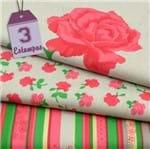 Kit de Tecido Roses By Mirella Nakata: Cinza (30x70) 3 Estampas