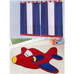 Kit Decoração Anime P/ Quarto de Menino = Cortina Colors 2 Metros + Tapete Pelúcia Aviãozinho - Azul Vermelho