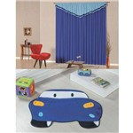 Kit Decoração Carro P/ Quarto Infantil = Cortina Riviera 2 Metros + Tapete Pelúcia - Azul Royal