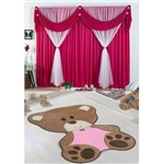 Kit Decoração P/ Quarto Infantil = Cortina Jéssica 2 Metros + Tapete Pelúcia Bebê Ursa - Pink Rosa