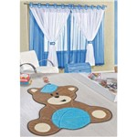 Kit Decoração Urso Baby P/ Quarto Infantil = Cortina Juvenil 2 Metros + Tapete Pelúcia - Azul Turquesa