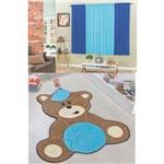 Kit Decoração Urso Baby P/ Quarto Infantil = Cortina 2 Metros + Tapete Pelúcia - Azul Turquesa