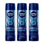 Kit Desodorante Nivea Aerosol Aqua Cool Masculino 90ml 3 Unidades