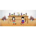 Kit Display de Chão e Mesa Superman e Mulher Maravilha 8 Peças