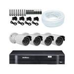 KIT DVR Intelbras + 04 Câmeras Infra 1200 Linhas Resolução + Acessórios