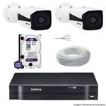 Kit Dvr Intelbras 4 Canais Mhdx 2 Câmeras Ips Bullet Vip 1120 Hd 1 Tb Wd Purple + Cabo