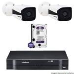 Kit Dvr Intelbras 4 Canais Mhdx 2 Câmeras Ips Bullet Vip 1120 Hd 1 Tb Wd Purple