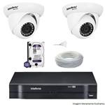 Kit Dvr Intelbras 4 Canais Mhdx 2 Câmeras Ips Dome Vip S4020 Hd 1 Tb Wd Purple + Cabo