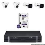 Kit Dvr Intelbras 4 Canais Mhdx 2 Câmeras Ips Vip 1120b 2 Câmeras Ips Vip S 4020d Hd 1 Tb Wd Purple