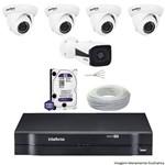 Kit Dvr Intelbras 8 Canais Mhdx 1 Câmera Ip Vip 1120b 4 Câmeras Ips Vip S 4020d Hd 1 Tb Wd + Cabo