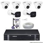 Kit Dvr Intelbras 8 Canais Mhdx 2 Câmeras Ips Vip 1120b 4 Câmeras Ips Vip S 4020d Hd 1 Tb Wd + Cabo