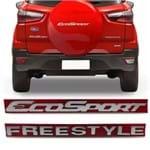 Kit Emblema Ecosport Freestyle do Porta Malas - Ecosport 2013 a 2018 Cromado