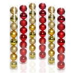 Kit Enfeite 48 Bolas P/ Árvore de Natal Vermelho Dourado 7cm
