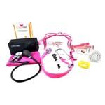 Kit Enfermagem Aparelho de Pressão Pink Estojo Transparente