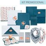 Kit Enxoval 12 Peças Raposa Forest - Azul Marinho - Hug