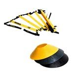 Kit Escada de Agilidade com 10 Degraus Pretorian Ec-pp + 12 Half Cones Chapéu Chinês Pretorian Hc-pp