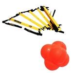 Kit Escada de Agilidade com 10 Degraus Pretorian Ec-pp + Bola de Tempo e Reação Reaction Ball Liveup