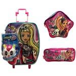 Kit Escolar Barbie Aventura Nas Estrelas Sestini : Mala Mochila G Rodinhas + Lancheira + Estojo