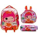 Kit Escolar Completo Infantil Boneca Lalaloopsy Candy Pop Xeryus : Mochila G Rodinhas + Lancheira Térmica + Estojo Simples