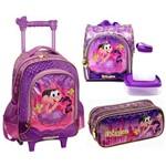 Kit Escolar Completo Infantil Mônica Princesa Rapunzel Pacific : Mochila com Carrinho e Alças para as Costas + Lancheira Térmica + Estojo Duplo