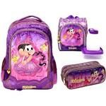 Kit Escolar Completo Infantil Mônica Princesa Rapunzel Pacific : Mochila G Costas + Lancheira Térmica + Estojo Duplo