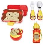 Kit Escolar Garrafinha com Canudo Talheres Pote Snack e Kit Lanche Skip Hop Macaco