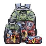 Kit Escolar Infantil Avengers Elite - Mochila G + Lancheira + Estojo