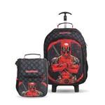 Kit Escolar Infantil Deadpool - Mochilete + Cooler Lancheira Original Dermiwil