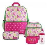 Kit Escolar Infantil Feminino Flor Pink Claro Mochila + Lancheira + Marmita + Estojo + Squeeze - Jacki Design