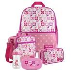 Kit Escolar Infantil Feminino Flor Rosa Claro Mochila + Lancheira + Marmita + Estojo + Squeeze - Jacki Design