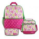 Kit Escolar Infantil Feminino Mochila + Lancheira P + Estojo Flor Pink Sapeka Jacki Design