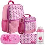 Kit Escolar Infantil Feminino Rosa Claro Mochila + Lancheira + Marmita + Estojo + Squeeze - Jacki Design