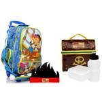 Kit Escolar Infantil Jake e os Piratas da Terra do Nunca Disney Dermiwil : Mochila G Rodinhas + Lancheira Térmica