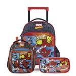 Kit Escolar Infantil Marvel Comics - Mochilete G + Lancheira + Estojo