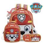 Kit Escolar Infantil Patrulha Canina Faces Marshall - Mochila P + Lancheira + Estojo Original Xeryus