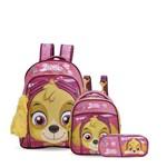 Kit Escolar Infantil Patrulha Canina Faces Skye - Mochila G + Lancheira + Estojo Original Xeryus