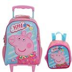 Kit Escolar Infantil Peppa Pig Fantastic Mochilete 7691 Lancheira 7694