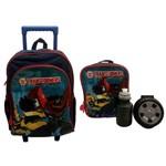 Kit Escolar Infantil Transformers Flames Pacific : Mochila G Rodinhas + Lancheira Térmica