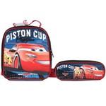Kit Escolar Lancheira + Estojo Duplo Dermiwil Carros Piston Cup (51810+51813)
