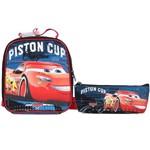Kit Escolar Lancheira + Estojo Simples Dermiwil Carros Piston Cup (51811+51813)